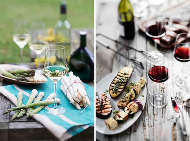 Viini & ruoka -kollaasi